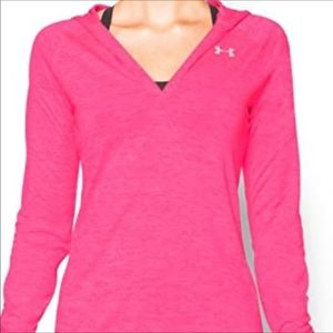 Pink long sleeve hoodie blouse